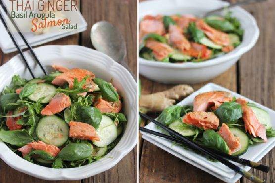 Thai Ginger Salmon Basil Arugula Salad