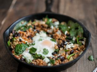 Chipotle Black Bean, Rice and Egg Skillet