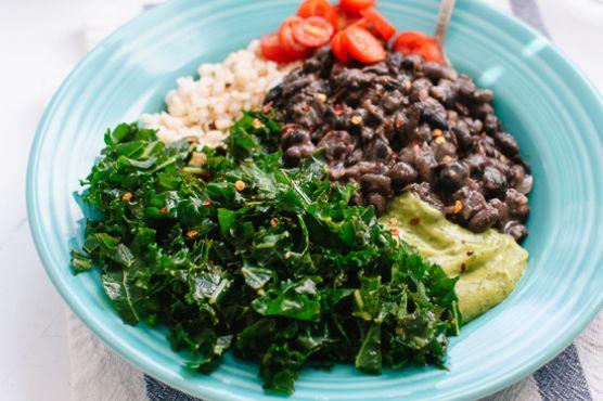 Kale, Black Bean and Avocado Burrito Bowl
