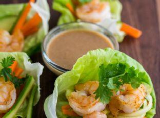 Shrimp Lettuce Wraps with Peanut Dipping Sauce