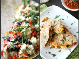 Southwestern Breakfast Quesadilla with Eggs, Black Beans & Salsa