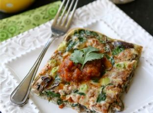 Baked Egg Breakfast Casserole with Mushrooms, Spinach & Salsa