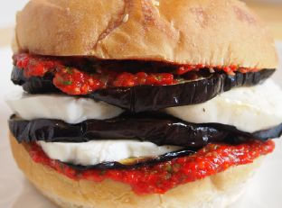 Mozzarella and Eggplant Sandwich with Roasted Red Pepper Relish Image