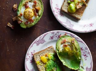 Baked Eggs in Avocado with Bacon on Toast