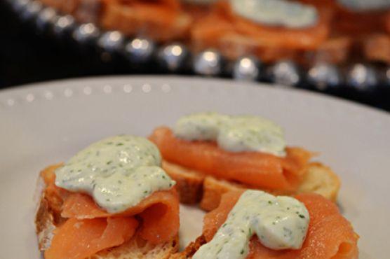 Smoked Salmon Crostini with Dill Cream
