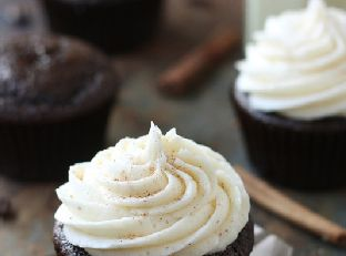 Spiced Chocolate Cupcakes with Eggnog Buttercream