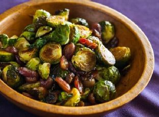 Roasted Brussels Sprouts and Grapes Image