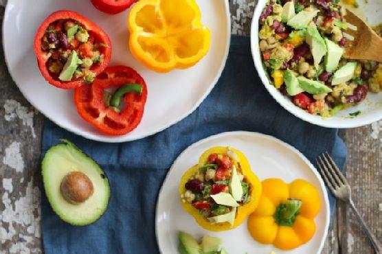 Tri-legume Salad Stuffed Peppers