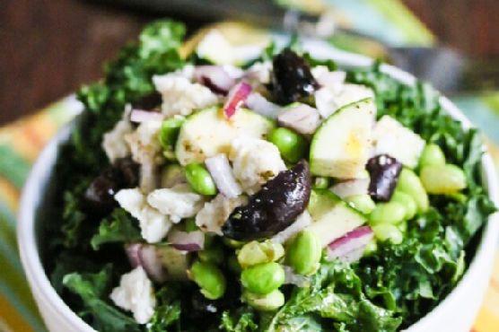 Greek Style Kale Edamame Zucchini Salad