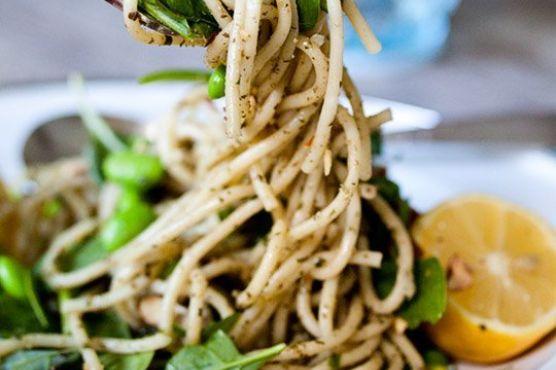 Pesto Pasta with Lemon, Spinach, Edamame & Toasted Almonds