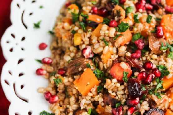 Roasted Butternut Squash Fig Pomegranate Whole Grain Salad