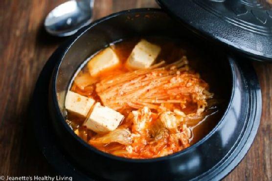 Spicy Kimchi Tofu Mushroom Egg Soup