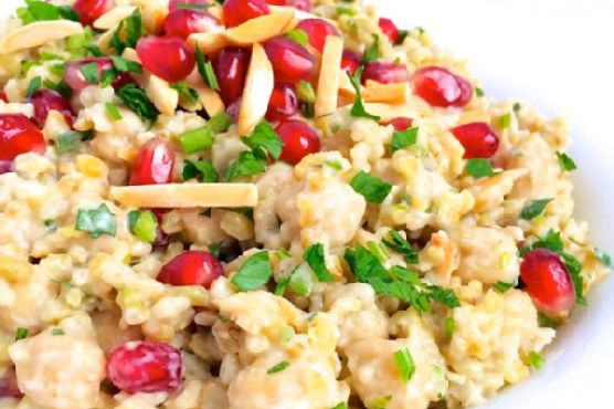 Freekeh with Tahini, Chickpeas and Pomegranate {Whole Grains Challenge}