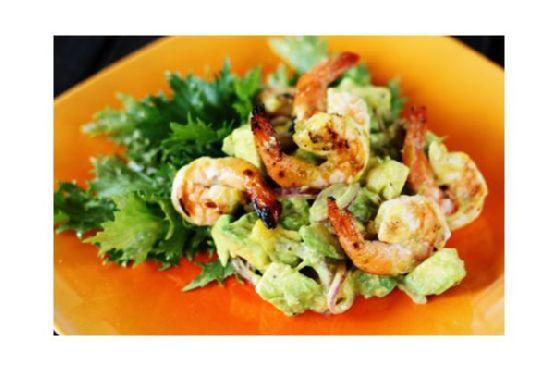 Avocado-Mango Salad With Grilled Shrimp