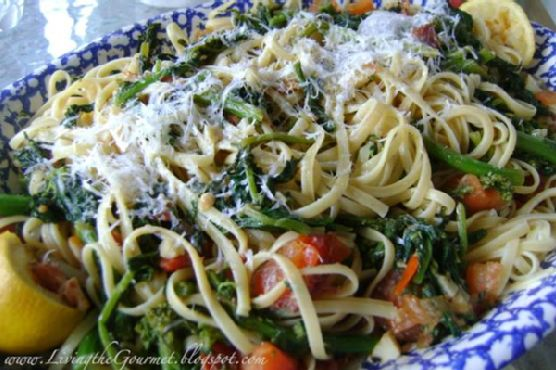 Broccoli Rabe with Tomatoes, Anchovies & Spaghetti
