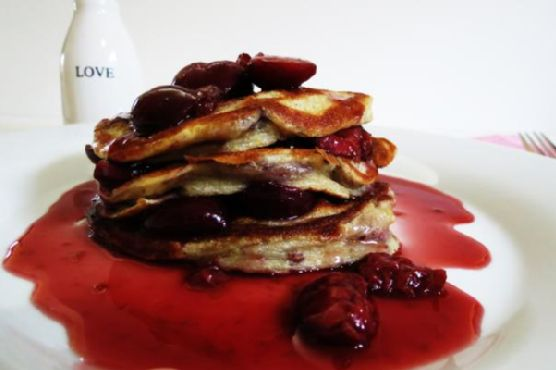 Cherry Pancakes for One
