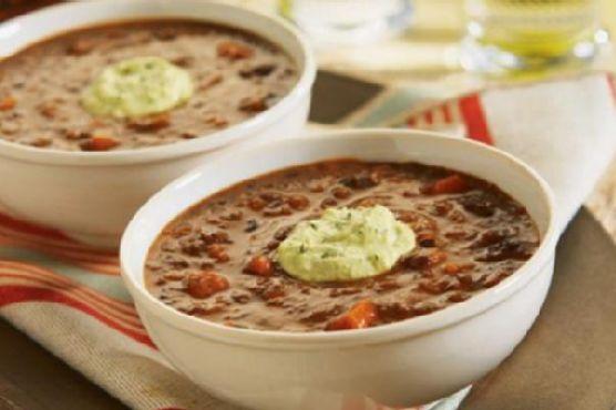 Chipotle Black Bean Soup with Avocado Cream