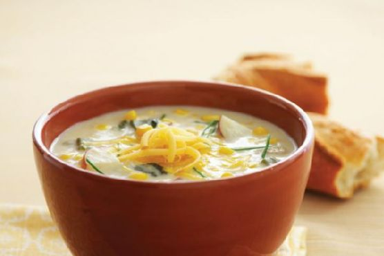 Corn Chowder with Potatoes, Poblanos, and Smoked Gouda