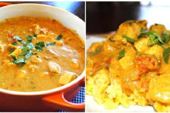 Creamy Curry Chicken With Yellow Rice