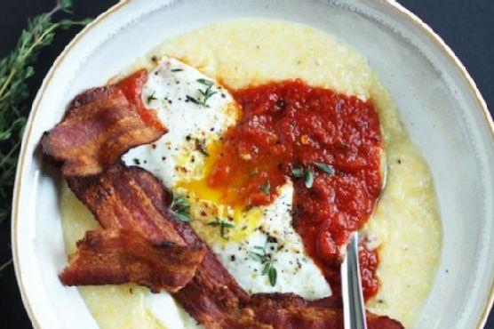 Creamy Polenta with Egg, Arrabiata & Bacon