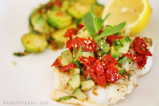 Grilled Fish With Sun Dried Tomato Relish