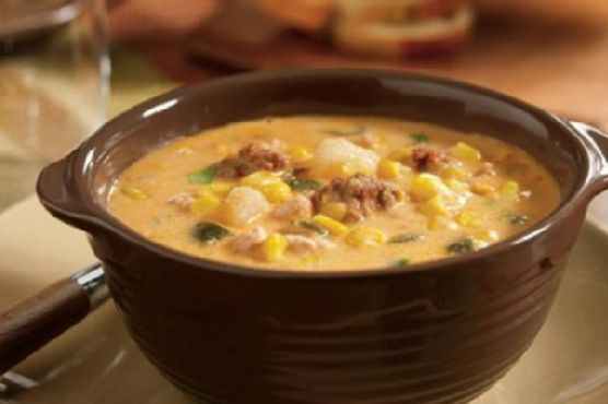 Slow Cooker Poblano Corn Chowder with Chicken and Chorizo