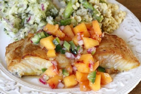 Soy Ginger Glazed Halibut w/ Ginger Peach Relish