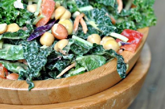 Kale Salad with Peanut Dijon Dressing + Weekly Menu