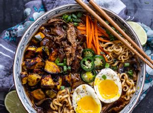 Crockpot Caramelized Pork Ramen Noodle Soup with Curry Roasted Acorn Squash
