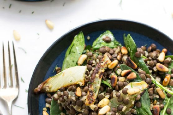Warm Lentil Salad with Spinach & Quinoa