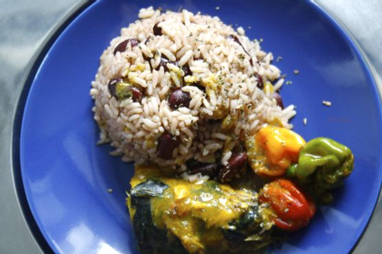 Rice and Peas with Coconut Curry Mackerel