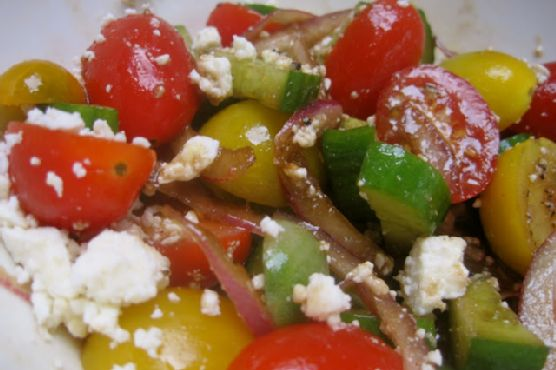 Tomato, Cucumber & Onion Salad with Feta Cheese: Real Convenience Food