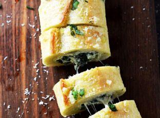 Spinach and Artichoke Dip Stuffed Garlic Bread