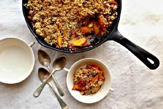 Nectarine-Raspberry Crisp with Quinoa-Almond Topping