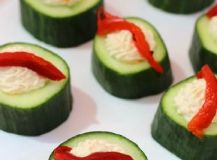 Easy Cucumber Hummus Cups Image