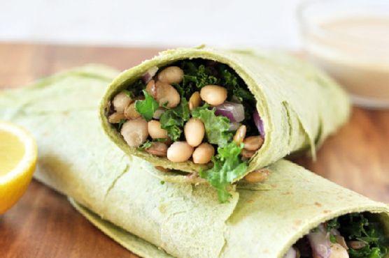 White Bean, Lentil and Kale Wraps