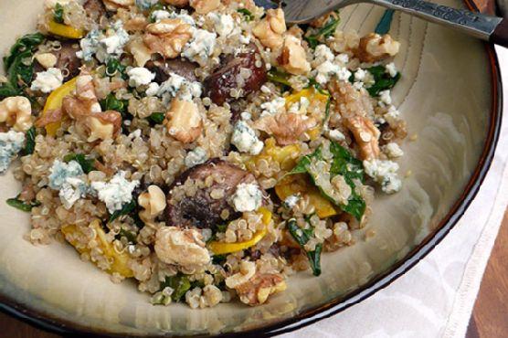 Roasted Mushroom Kale Quinoa Salad
