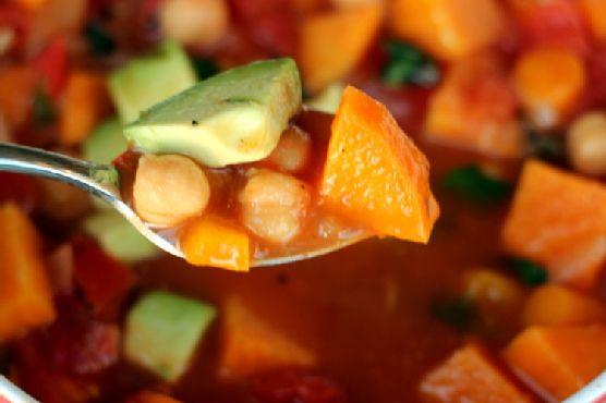 Vegan Tomato, Chickpea, and Sweet Potato Soup