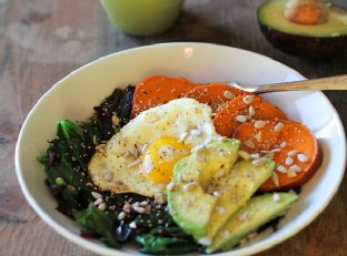 Sweet Potato Breakfast Bowls with Beet Greens and Avocado