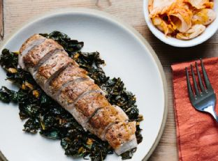 Pork Tenderloin with Kale and Kimchi Image