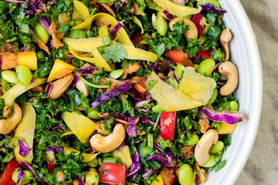 Chopped Thai Kale Salad with Peanut Ginger Dressing