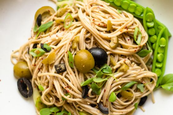Sesame and Olive Soba Noodles