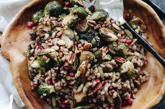 Roasted Brussels Sprouts Farro Salad