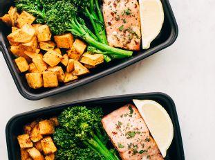 Lemon Roasted Salmon with Sweet Potatoes and Broccolini